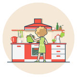 Linear Flat Woman cook kitchen vector illustration Royalty Free Stock Image