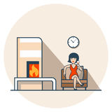 Linear Flat Woman drink wine sit living room. Linear Flat Woman in red dress drinking wine, sitting in living room near fireplace vector illustration. Casual Royalty Free Stock Images
