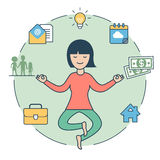 Linear Flat Woman levitate Zen house family money Stock Images