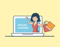 Linear Flat woman purchase bags laptop vector  Royalty Free Stock Photos