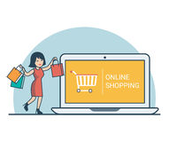 Linear Flat woman purchase bags laptop vector  Royalty Free Stock Images