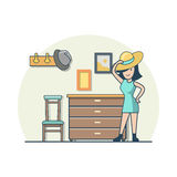 Linear Flat woman try on hat in hallway vector.  Stock Images