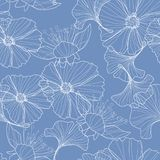 Linear floral background, flowers pattern. stock illustration