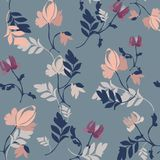 Linear floral background, flowers pattern. royalty free illustration