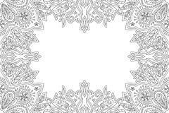 Free Linear Floral Border For Adult Coloring Book Page Stock Photos - 164143963