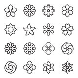 Linear flower icons isolated on a white background Stock Images