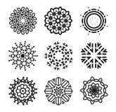 Linear flowers logo set. Monochrome simple line art logotype collection. Florist decorative design element. Vector Stock Photos