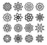 Linear flowers logo set. Monochrome simple line art logotype collection. Florist decorative design element. Vector Stock Image