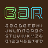 Linear font. Vector alphabet with stripes effect letters and num Stock Image