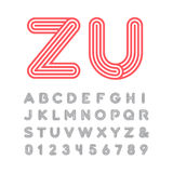 Linear font. Vector alphabet with stripes effect letters and num Stock Photography