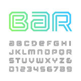 Linear font. Vector alphabet with stripes effect letters and num Stock Photo