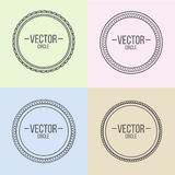 Linear frames with text set. Outline design for stamps and badge. S and other circle elements Stock Illustration