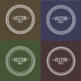 Linear frames with text set. Outline design for stamps and badge Stock Images