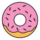 Linear Glazed ring doughnut with sprinkles. Pink glazed ring doughnut with sprinkles. Thin line linear vector illustration Stock Images