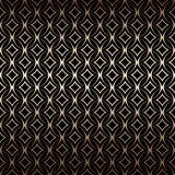 Linear Gold Art Deco Simple Seamless Pattern With Round Shapes, Black And Gold Colors Stock Image
