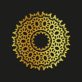 Linear gold vector ornamental mandala illustration. Abstract line art backdrop template logo. Golden beauty decorative. Design element on black background Royalty Free Stock Photos
