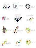 Linear graph and chart abstract logo set, connected multicolored line segments Royalty Free Stock Photos