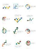 Linear graph and chart abstract logo set, connected multicolored line segments Stock Photo