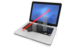 Linear growth on a modern laptop. 3D render of translucent growth chart on keyboard Stock Photo