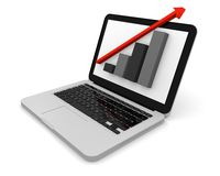 Linear growth on a modern laptop. 3D render of growth chart on a laptop screen Royalty Free Stock Photos