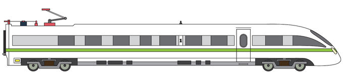 Linear high-speed train vector express railway illustration Royalty Free Stock Photography