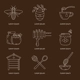Linear honey icons. Set of linear icons honey. Vector illustration Stock Photography