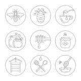 Linear honey icons. Set of linear icons honey. Vector illustration Stock Image