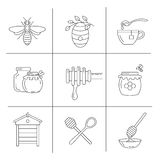 Linear honey icons. Set of linear icons honey. Vector illustration Royalty Free Stock Image
