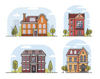 Linear house and building. Vector linear house and building flat background Royalty Free Stock Photography