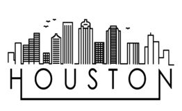 Linear Houston City Silhouette with Typographic Design vector illustration