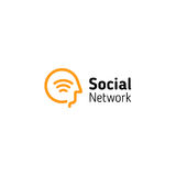 Linear human head with wifi signal symbol inside. Abstract Social network vector logo royalty free illustration