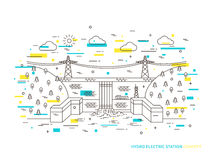 Linear hydro electric station hydroelectric power plant vector illustration. Hydro power engineering waterpower plant creative concept. Hydro electricity Stock Image