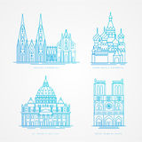 Linear icion set. World famous cathedral. Landmarks of europe.. Paris Moscow Rome and Cologne Stock Image