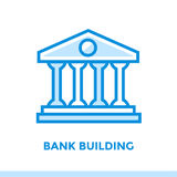 Linear icon BANK BUILDING of finance, banking. Suitable for mobi Stock Images