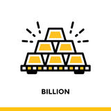 Linear icon BILLION of finance, banking. Pictogram in outline st. Suitable for mobile apps, websites and design templates Royalty Free Stock Images