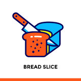 Linear icon BREAD SLICE of bakery, cooking. Pictogram in outline style. Suitable for mobile apps, websites and design templates Stock Photography