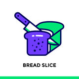 Linear icon BREAD SLICE of bakery, cooking. Pictogram in outline. Vector pictogram suitable for print, website and presentation Royalty Free Stock Photography