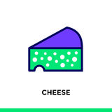 Linear icon CHEESE of bakery, cooking. Pictogram in outline styl. Vector pictogram suitable for print, website and presentation Stock Photography