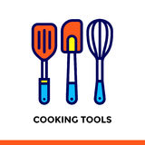 Linear icon COOKING TOOLS of bakery, cooking. Pictogram in outline style. Suitable for mobile apps, websites and design templates Royalty Free Stock Images