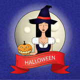 Linear icon with cute Halloween witch in purple costume with magic hat on dark background. Royalty Free Stock Images