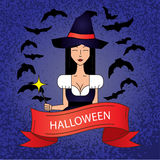 Linear icon with cute Halloween witch in purple costume with magic hat on dark background. Royalty Free Stock Photo