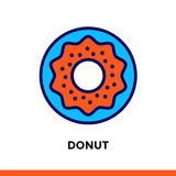 Linear icon DONUT of bakery, cooking. Pictogram in outline style. Suitable for mobile apps  Stock Image