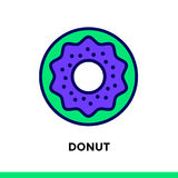 Linear icon DONUT of bakery, cooking. Pictogram in outline style. Vector pictogram suitable for print, website and presentation Royalty Free Stock Photography