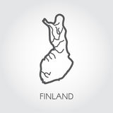 Linear icon of Finland country. Abstract outline silhouette map for cartography, geography and other design needs Royalty Free Stock Images