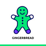 Linear icon GINGERBREAD of bakery, cooking. Pictogram in outline. Vector pictogram suitable for print, website and presentation Royalty Free Stock Photos