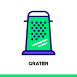 Linear icon GRATER of bakery, cooking. Pictogram in outline styl. Vector pictogram suitable for print, website and presentation Stock Image