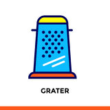 Linear icon GRATER of bakery, cooking. Pictogram in outline style. Suitable for mobile apps, websites and design templates Royalty Free Stock Image