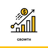 Linear icon GROWTH of finance, banking. Pictogram in outline sty. Suitable for mobile apps, websites and design templates Stock Images