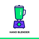 Linear icon HAND BLENDER of bakery, cooking. Vector pictogram su. Vector pictogram suitable for print, website and presentation Stock Image