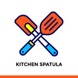 Linear icon Kitchen spatula of bakery, cooking. Pictogram in outline style. Suitable for mobile apps, websites and design template Royalty Free Stock Photo